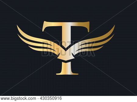 T Letter Wing Logo Design. Initial Flying Wing T Letter Logo. Letter T Logo And Wings Concept