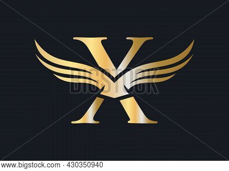 X Letter Wing Logo Design. Initial Flying Wing X Letter Logo. Letter X Logo And Wings Concept