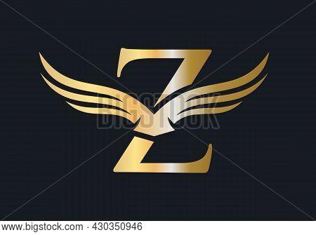 Z Letter Wing Logo Design. Initial Flying Wing Z Letter Logo. Letter Z Logo And Wings Concept