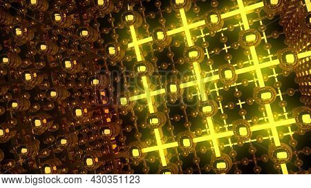 Bright Space Gate With 3d Render Laser Cross Emitters. Geometric Lines With Fractal Capacitors And C