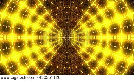3d Rendering Radiation From The Center Of Golden Flickering Particles On A Black Background, Compute