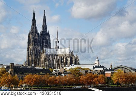 City View Of Cologne Over The Rhine River To Cathedral And Old Town In Autumn Mood