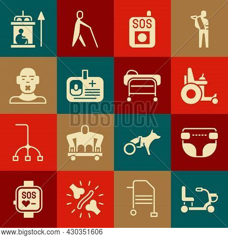 Set Electric Wheelchair, Adult Diaper, Press The Sos Button, Identification Badge, Head Of Deaf And