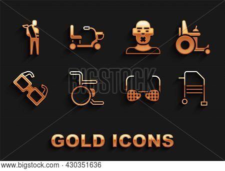 Set Wheelchair, Electric Wheelchair, Walker, Blind Glasses, Eyeglasses, Head Of Deaf And Dumb, Human