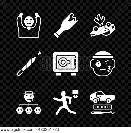 Set Thief Surrendering Hands Up, Broken Bottle As Weapon, Burning Car, Mafia, Murder, Car Theft, Mar
