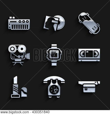 Set Wrist Watch, Telephone Handset, Waist Bag Of Banana, Vhs Video Cassette Tape, Lipstick, Retro Ci