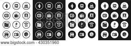 Set Retro Typewriter, Tv, 80s, Wrist Watch, Photo, Cigarettes Pack Box, Telephone Handset And Icon.