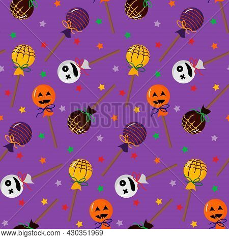 Halloween Lollipop Pattern. Attributes For The Holiday. Vector Illustration. For Holiday Decoration,