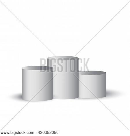 Three 3d Gray Podium. Studio Podium Platform. Round Pedestal Stand. Vector Illustration. Stock Image