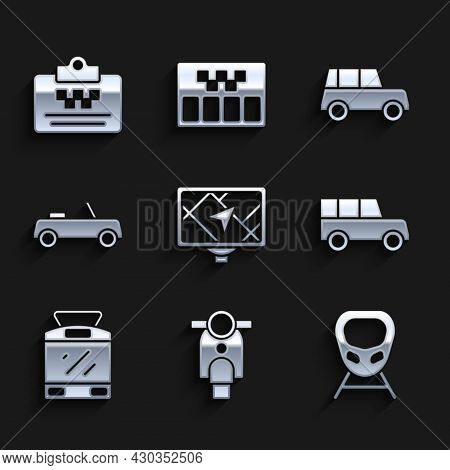 Set Gps Device With Map, Scooter, High-speed Train, Car, Tram And Railway, And Taxi Driver License I