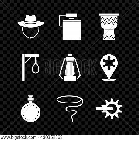 Set Western Cowboy Hat, Canteen Water Bottle, Drum, Lasso, Spur, Gallows And Camping Lantern Icon. V