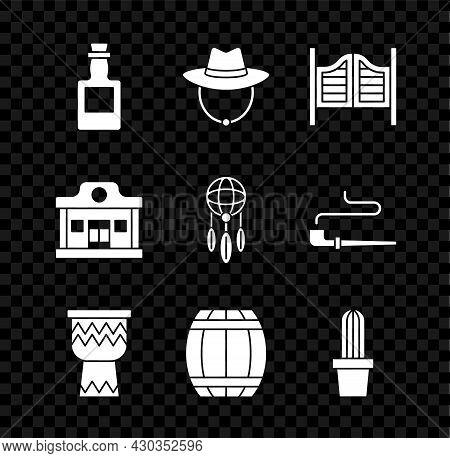 Set Tequila Bottle, Western Cowboy Hat, Saloon Door, Drum, Gun Powder Barrel, Cactus Peyote In Pot,