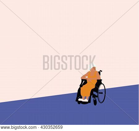Elderly Woman Sitting In A Wheelchair. Senior Citizens, Retired Grandparents, Old-age Pensioners Wit