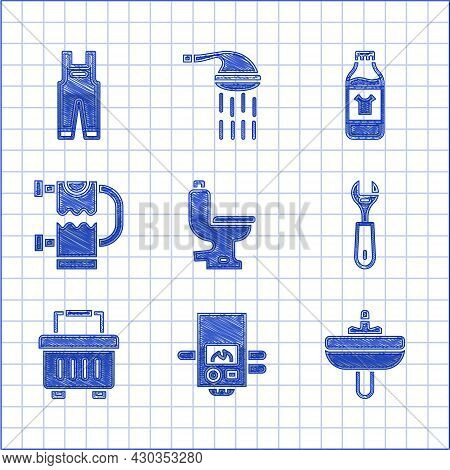 Set Toilet Bowl, Gas Boiler, Washbasin, Wrench Spanner, Toolbox, Heated Towel Rail, Bottle For Clean