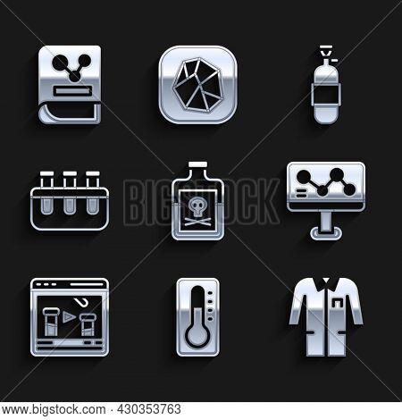 Set Poison In Bottle, Medical Thermometer, Laboratory Uniform, Chemical Formula, Online, Test Tube A