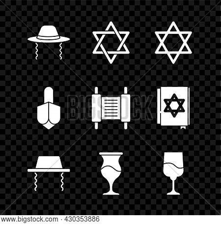 Set Orthodox Jewish Hat, Star Of David, Jewish Goblet, Hanukkah Dreidel And Torah Scroll Icon. Vecto