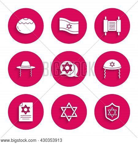 Set Star Of David, Shield With, Jewish Kippah, Torah Scroll, Orthodox Jewish Hat, And Sweet Bakery I