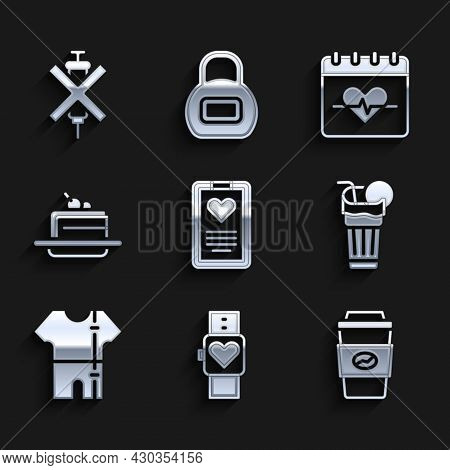 Set Medical Clipboard, Smart Watch, Coffee Cup To Go, Fresh Smoothie, Sport Track Suit, Cake, Heart