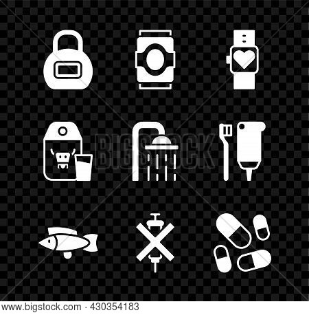 Set Kettlebell, Soda Can, Smart Watch, Fish, No Doping Syringe, Vitamin Pill, Paper Package For Milk
