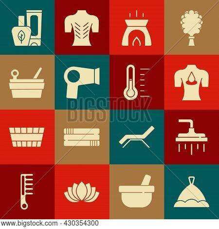 Set Sauna Hat, Shower Head, Massage With Aroma Oils, Aroma Candle, Hair Dryer, Bucket Ladle, Ointmen