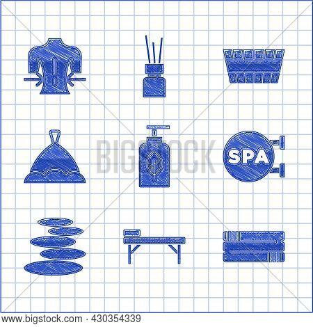 Set Essential Oil Bottle, Massage Table, Towel Stack, Spa Salon, Stack Hot Stones, Sauna Hat, Bucket