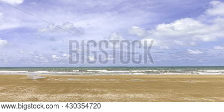 Tropical Paradise Beach With White Sand Shore, Coast For Travel Tourism Wide Panorama Background. Lu