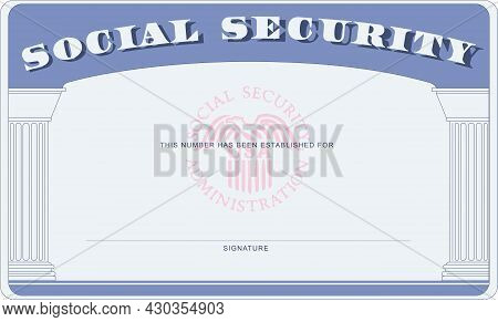 Social Security Card Document Form With Place For Signature And Citizen Number