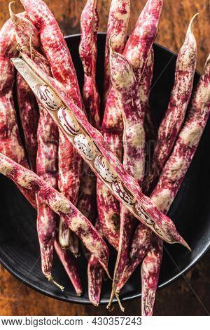 Cranberry beans. Borlotti beans. Beans pods. Top view.