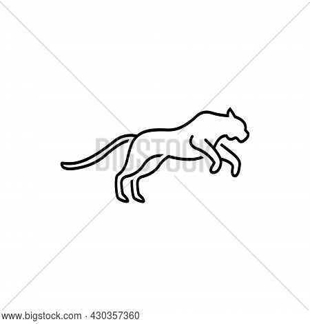 Cheetah Outline Vector Logo Design On White Background. Creative Cheetah Logo That Is Jumping