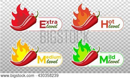 Icons With Chili Pepper Spice Levels. Hot Pepper Sign With Fire Flame For Packing Spicy Food. Mild,