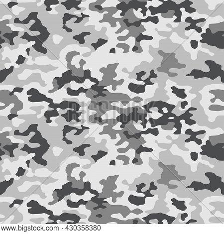 Camouflage Pattern Background Seamless Vector Illustration. Splashes Masking Camo Repeat Print. Grey
