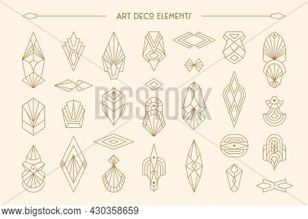 Art Deco Elements Set In Trendy Minimal Liner Style. Vector Geometric Shapes, Retro Design Elements