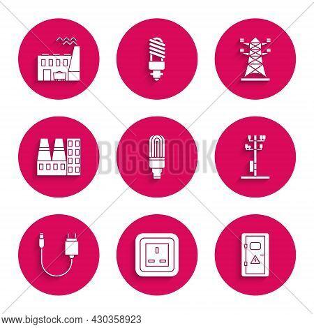 Set Led Light Bulb, Electrical Outlet, Cabinet, High Voltage Power Pole Line, Charger, Power Station