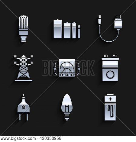 Set Ampere Meter, Multimeter, Voltmeter, Light Bulb, Battery, Car Battery, Electric Plug, High Volta