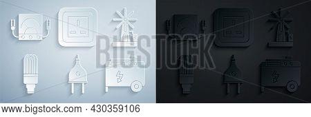 Set Electric Plug, Wind Turbine, Led Light Bulb, Portable Power Electric Generator, Electrical Outle