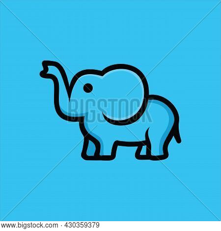 Cute Elephant Logo. Elephant Logo Sign Vector Illustration Set Design
