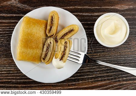 Whole Pancake Roll, Pieces Of Fried Pancake With Meat Filling In White Plate, Piece Of Pancake On Fo