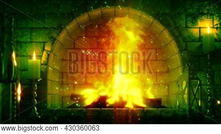 Fantasy Masonry Grate Fire Glowing , Cg Object 3d Illustration
