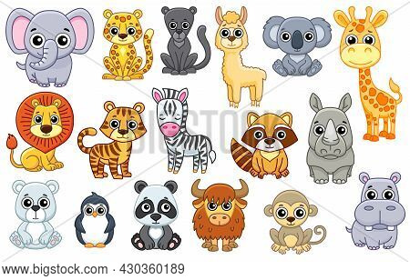 Set Of Cute Zoo Animals In A Cartoon Style Isolated On White Background