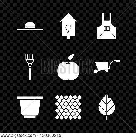 Set Worker Hat, Retro Wall Watch, Kitchen Apron, Flower Pot, Garden Fence Wooden, Leaf, Rake And App