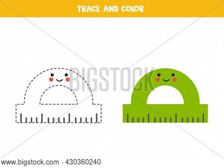 Trace And Color Cute Kawaii Protractor. Educational Game For Kids. Writing And Coloring Practice.