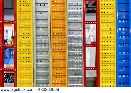 Sample Assembly Wall Or Partition Colorful Red Yellow Blue Green Galvanize Metal Steel Sheet Forming