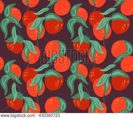 Seamless Flat Texture With Nectarines On Branches With Foliage On Dark Background. Cartoon Pattern W