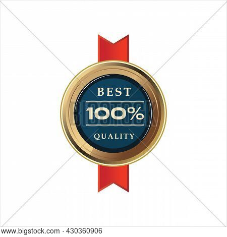 Best Quality Gold Badge. Vector Illustration. Certification Badge In Gold Shining Quality Emblems Of