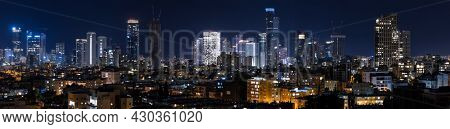 Tel Aviv And Ramat Gan Skyline At Night,  Tel Aviv Cityscape, Israel