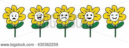 Set Of High Quality Sunflower Cartoon Emoticons And Emoji Vector, Worried Face, Smiling Face With Mo