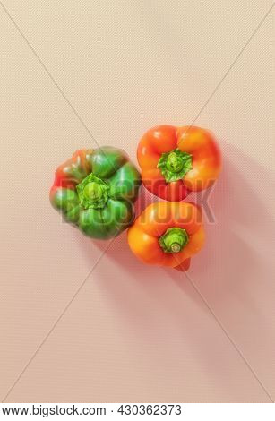 The Vertical Color Image Shows The Image Of Fresh And Raw Food. These Are Homemade Sweet Peppers Of