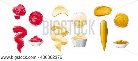 Ketchup, Mayonnaise, Mustard Sauces Splashes Set. Realistic Vector Illustration Isolated On White Ba