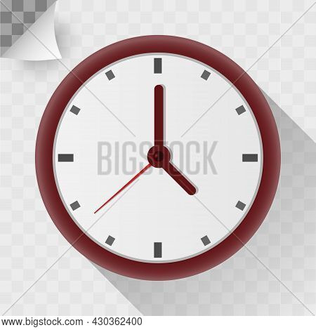 Circle Clock Flat Icon. Round Shape On White Wall And Transparent Background Timer Object With Shado