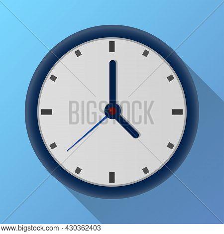 Circle Clock Flat Icon. Round Shape On Blue Wall Background Timer Object With Shadow. Elegant Analog